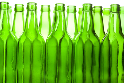 green beer bottles that have been recycled