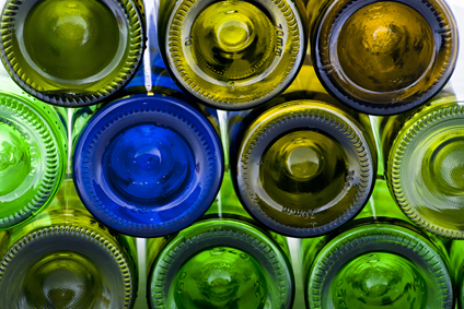 a variety of multi coloured bottles that have been recycled